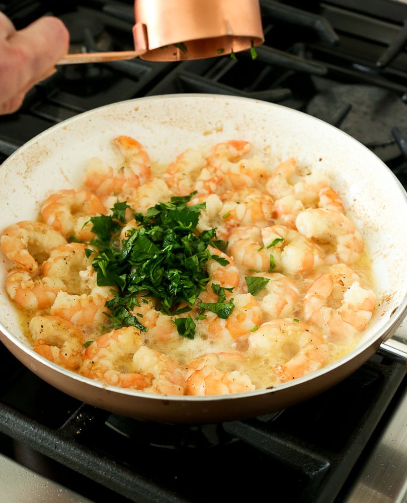 Shrimp Scampi Recipe-add parsley to pan
