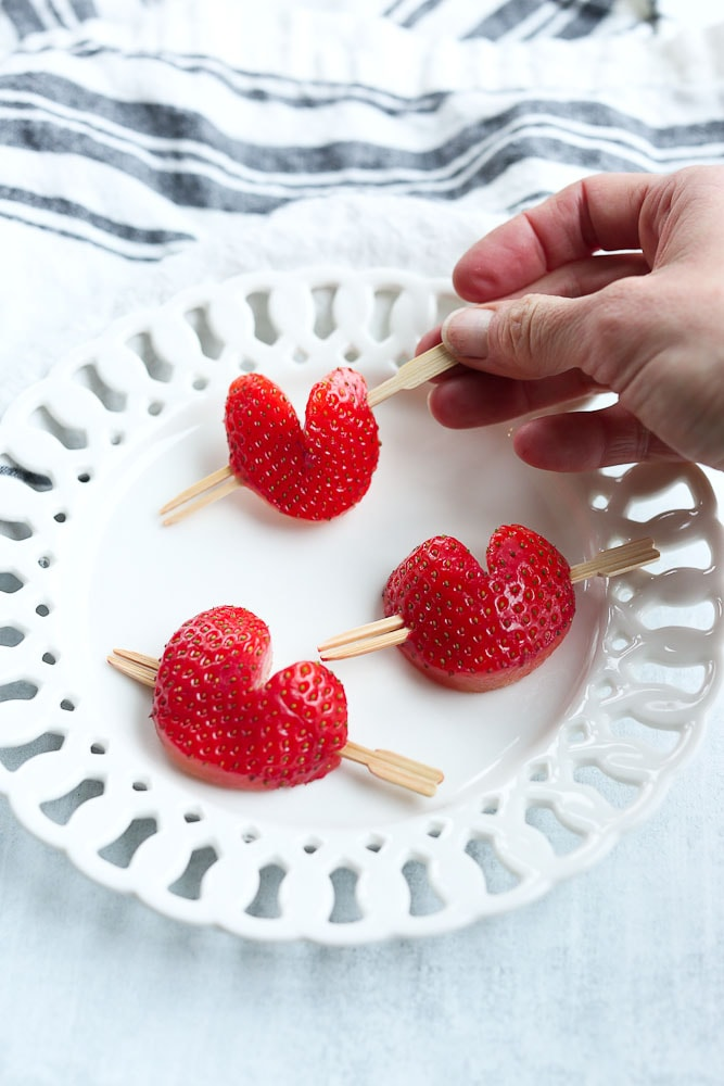 strawberry hearts with cupid arrows