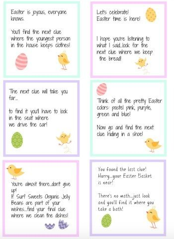 Easter scavenger hunt free printable clues happy healthy mama easter scavenger hunt clues negle Image collections
