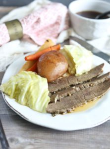 Corned Beef and Cabbage on plate slow cooker crockpot recipe