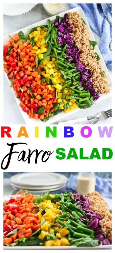 Rainbow Farro Salad recipe So easy and SO good! #salad #recipes #healthy #vegan #oilfree #vegetables #easter #spring #summer