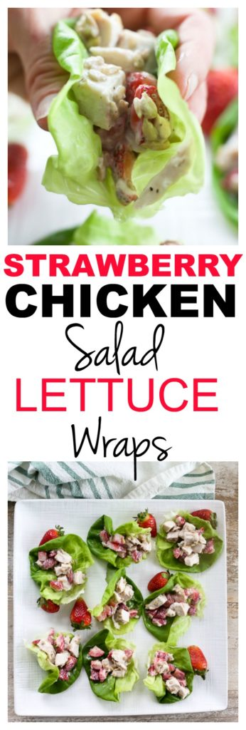 Strawberry Chicken Salad Lettuce Wraps recipe #easy #healthy #lunch #chickensalad #recipes