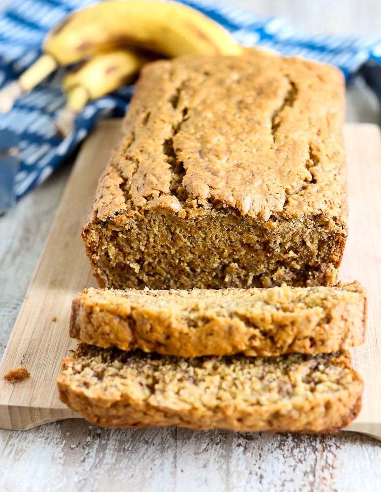 Vegan Banana Bread recipe sliced