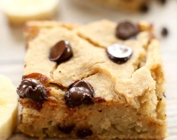 Banana Chocolate Chip Blondie Recipe (Vegan & Gluten Free)