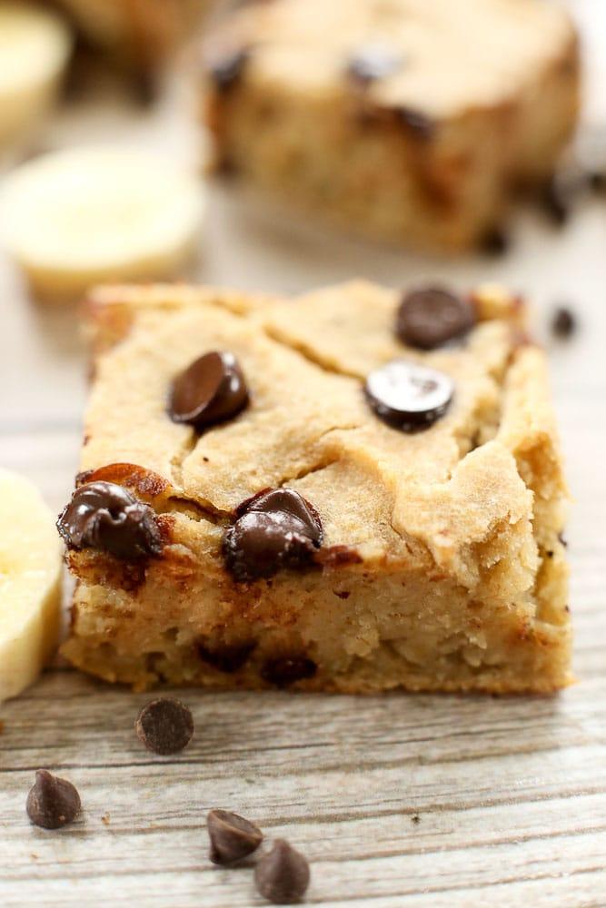 banana vegan chocolate chip gluten recipe dessert blondie blondies healthy incredible makes