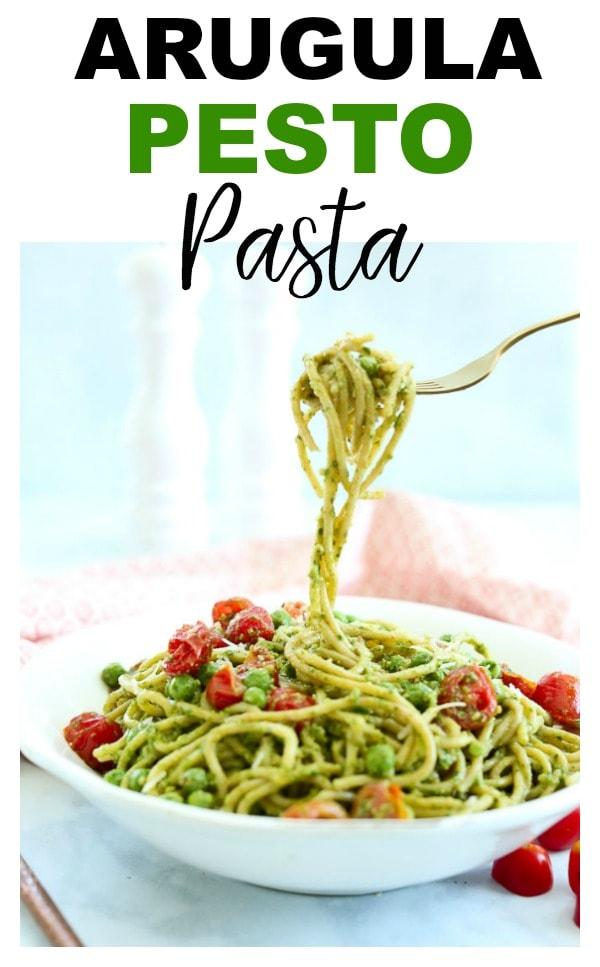 Arugula Pesto Pasta Recipe #pasta #vegetarian #easy #dinner #recipes #weeknight #healthy #pesto #quick