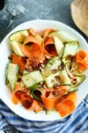 Shaved Vegetable Salad Recipe with tangy dill dressing #recipes #healthyrecipes #vegetarian #glutenfree #easy #quick #summer #salad #vegetables #zucchini #carrots #yogurt