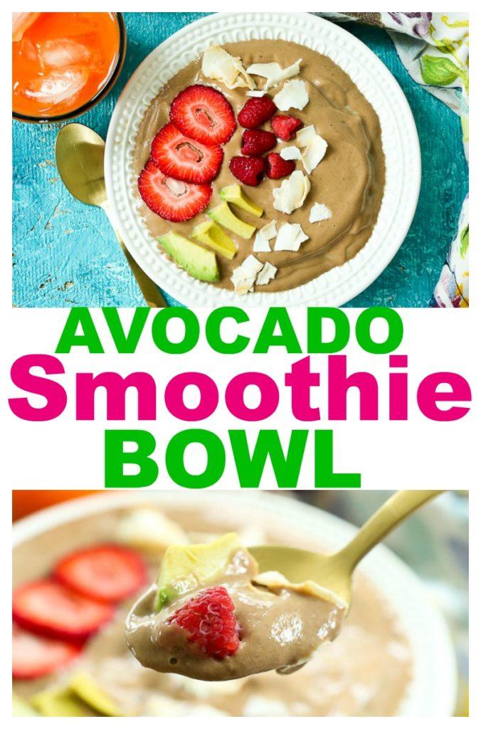 Avocado Smoothie Bowl recipe #healthyrecipe #smoothies #smoothie #smoothiebowl #avocadosmoothie #avocado #healthybreakfast #breakfast #summer