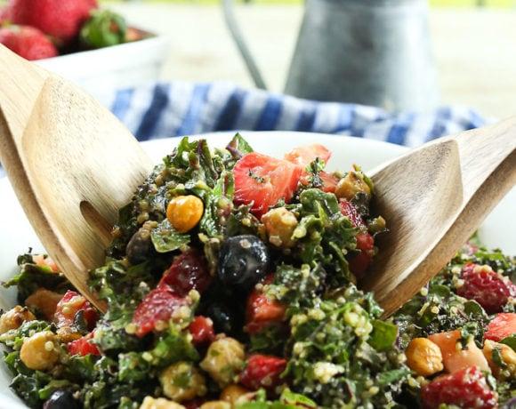 Massaged Kale Salad recipe #salad #healthy #vegan #glutenfree #healthyrecipes #saladrecipes #easyrecipes #summerrecipes #berries #blueberries #strawberries #quinoa #chickpeas