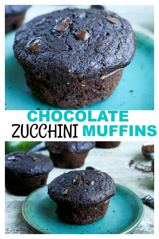 Chocolate Zucchini Muffins are a healthier muffin--what could be better than combining chocolate and a vegetable?! #healthy #muffins #zucchini #chocolate #wholewheat #wholegrains #lowsugar #easy #best #chocolatechips