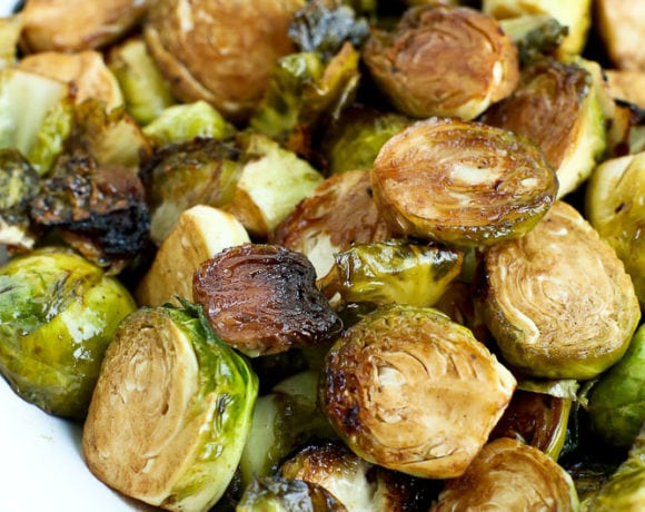 Grilled Brussels Sprouts close up of the crispy caramelization