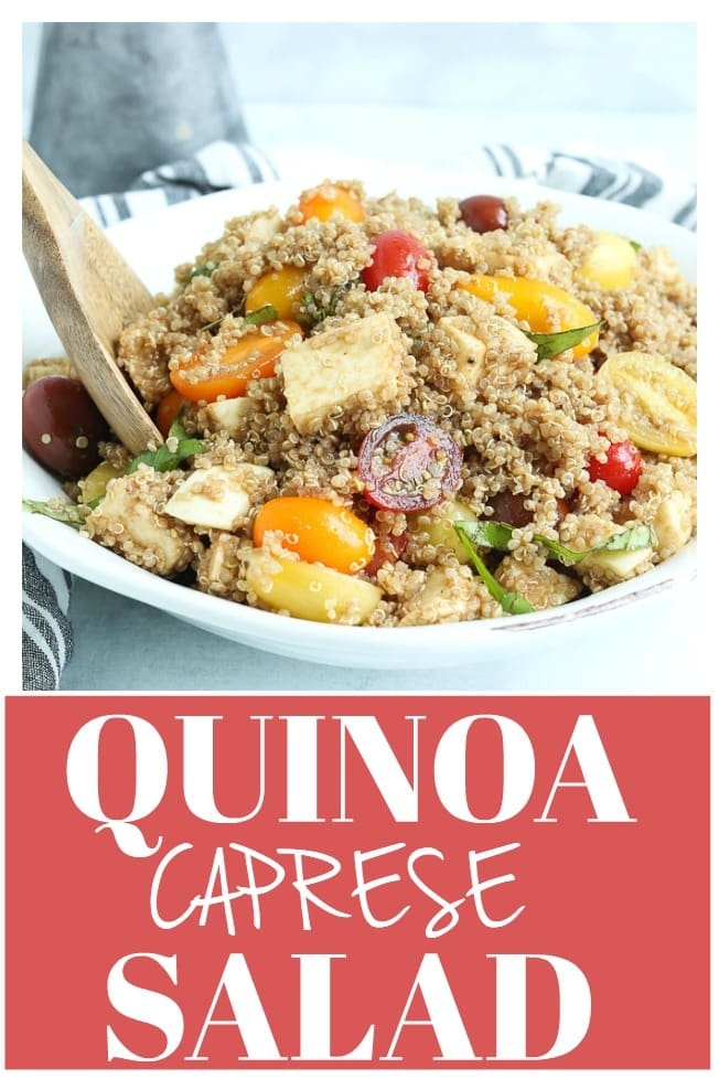 This Quinoa Caprese Salad Recipe is the best summer salad! Light and flavorful! #quinoa #salad #caprese #mozzarella #tomatoes #basil #easy #summer #light #healthy #recipe