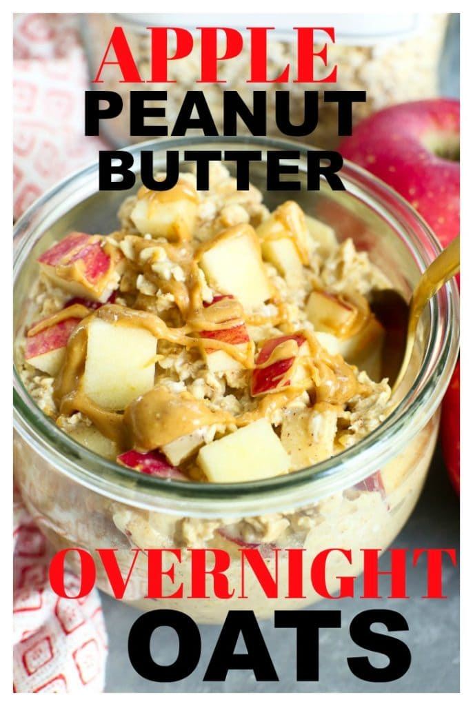 This Apple Peanut Butter Overnight Oats Recipe is the BEST make-ahead breakfast! So quick and easy! #overnightoats #oatmeal #apple #peanutbutter #healthy #recipes #breakfast #ideas #kids #backtoschool #quick #easy