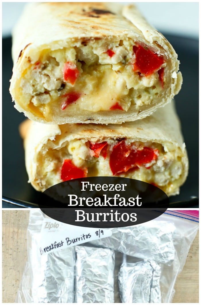 This Breakfast Burrito recipe makes a great make-ahead breakfast that is perfect for the freezer! These make busy school mornings so easy! #freezer #breakfast #burritos #cheese #easy #frozen #freezer #makeahead #easy #homemade #kids #best #mealprep #freezable