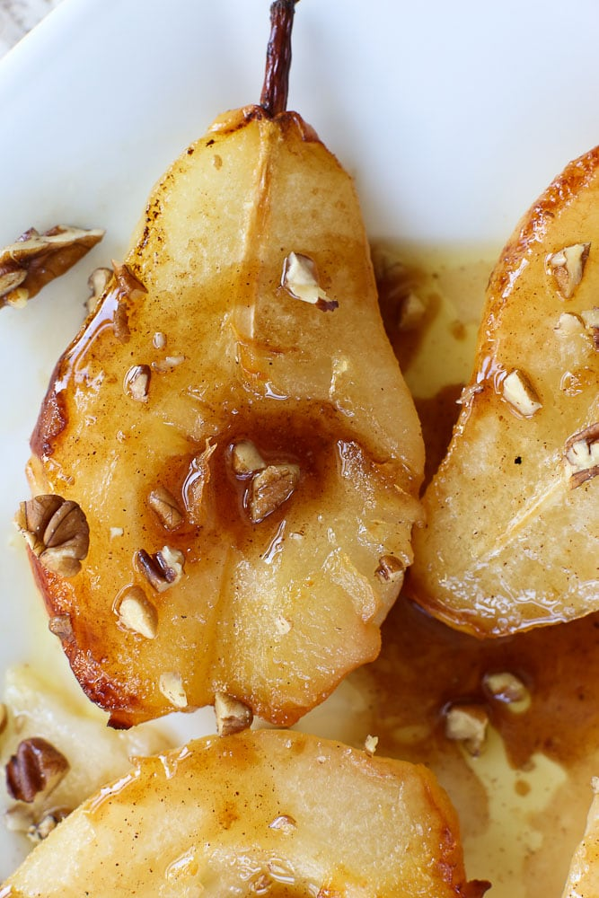 Simple Baked Pears with Maple Syrup one pear up close