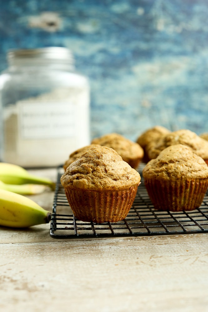 Simple Banana Muffins Recipe on baking rack