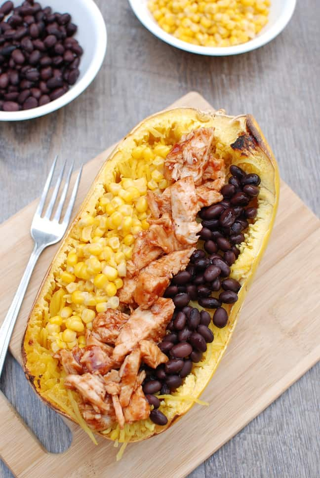 Spaghetti Squash Recipes: BBQ Chicken Spaghetti Squash Bowl