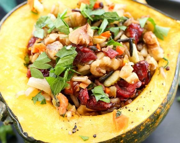 Wild Rice Stuffed Acorn Squash (Vegan Recipe)