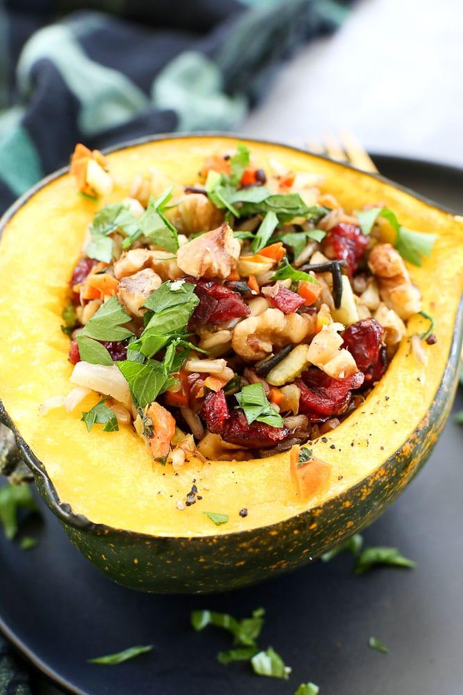 Wild Rice Stuffed Acorn Squash Vegan Recipe