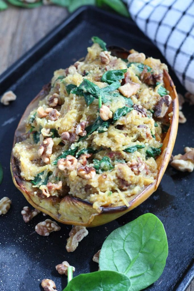 spaghetti squash recipes : Parmesan, Spinach, and Bacon Stuffed Spaghetti Squash