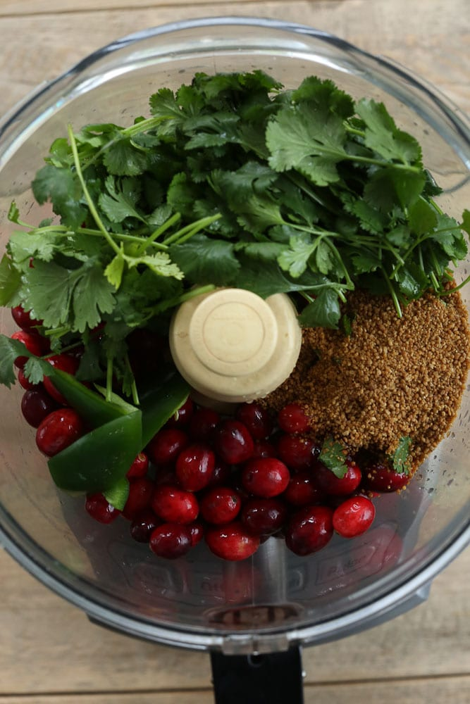Cranberry Salsa recipe ingredients in food processor