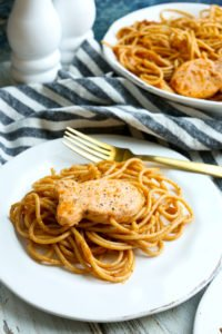 Salmon Pasta with sun dried tomato pesto