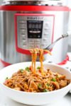 Instant Pot Asian Noodle Bowls with chicken, carrots, and brown rice noddles