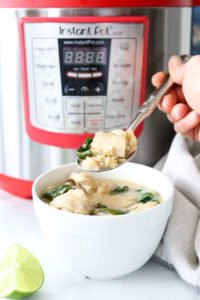 Instant Pot Coconut Lime Chicken Bowls recipe with cauliflower and spinach