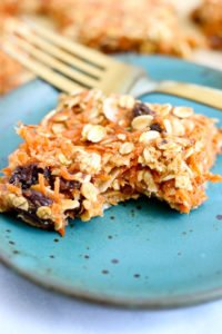 Carrot Oatmeal Breakfast Bars with a bite