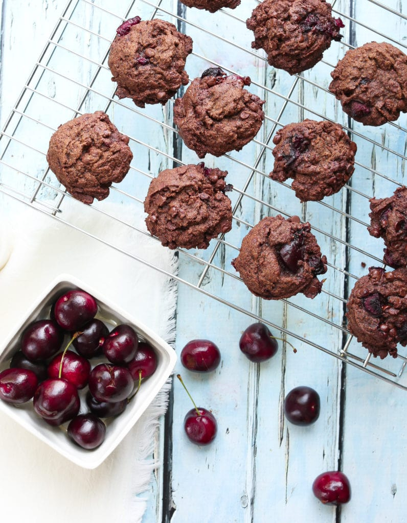 Chocolate Chocolate Chip Cherry Cookies Recipe on the cooling rack