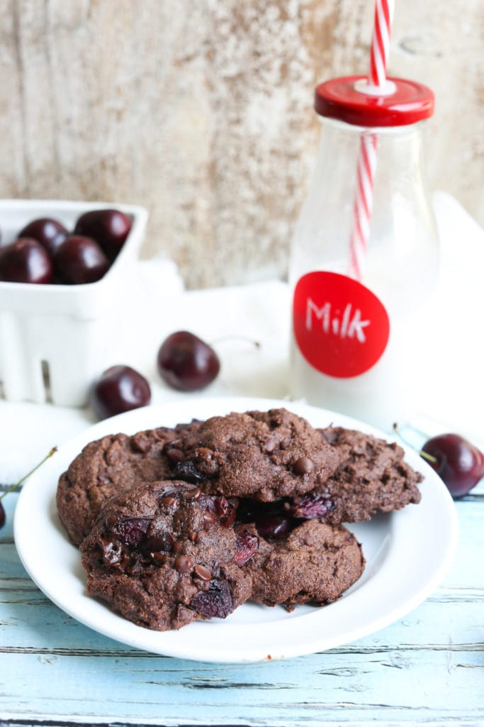 Chocolate Chocolate Chip Cherry Cookies on a plate