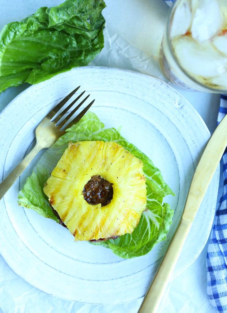 Teriyaki Turkey Burger recipe on a plate