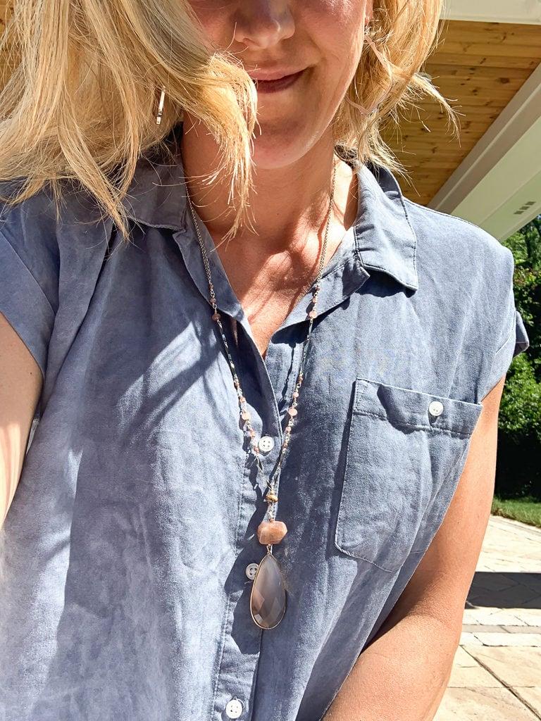 Stitch Fix Summer 2019 Nakomol Sherrie Teardrop Moonstone Pendant Necklace