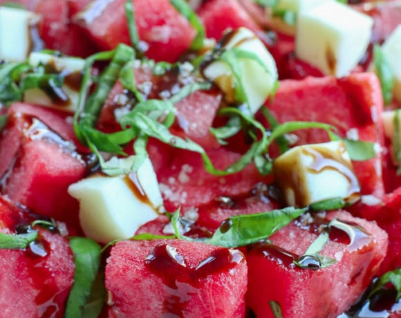 Watermelon Salad recipe with Balsamic Glaze and basil