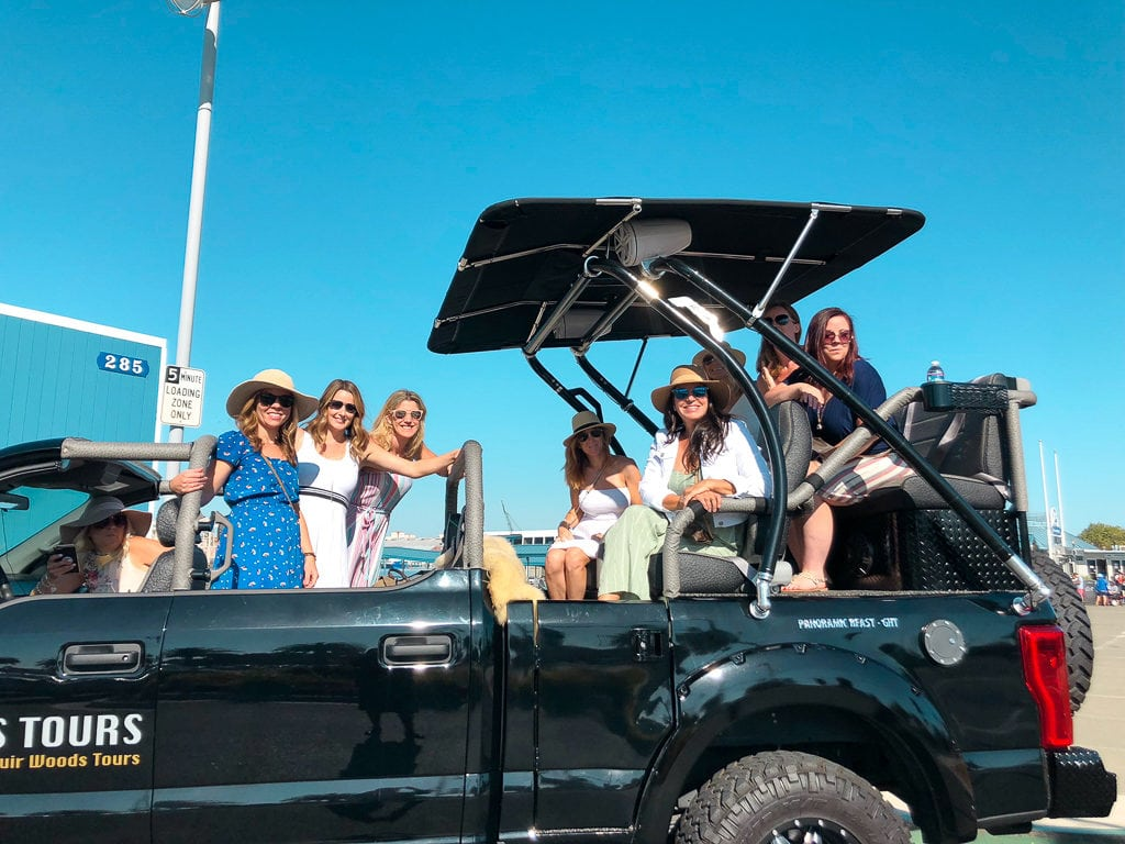 wine tour in cool vehicle