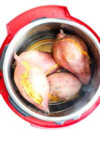 cooked sweet potatoes in the Instant Pot